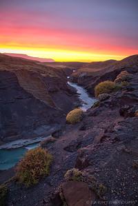 Brilliant sunrise light over the Rio de la Vueltas canyon outside El Chalten, Patagonia.
