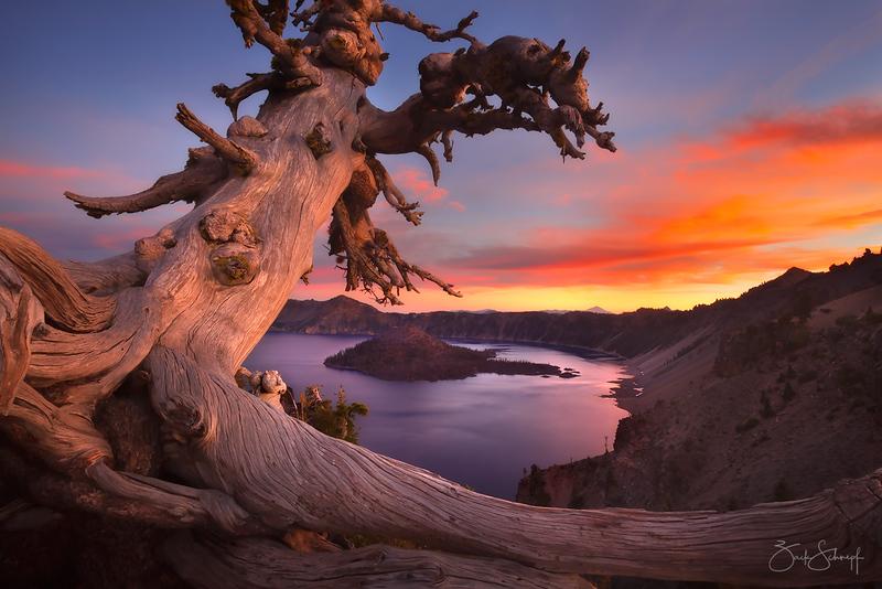 "<font color=""#FFFFFF"" size=""4"" face=""Verdana, Arial, Helvetica, sans-serif"">Crater Lake Sunset</font><br> Crater Lake, Oregon"