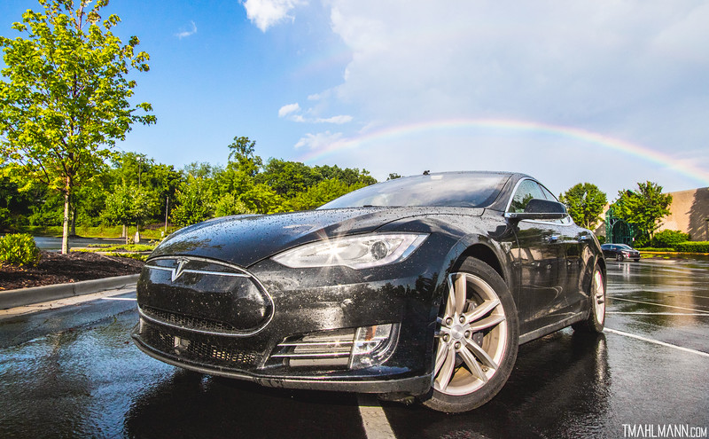 Enjoying an awesome rainbow! Stopping to charge in Asheville, North Carolina and spotted a sweet rainbow, so had to park the @TeslaMotors #ModelS and get a shot @CanonUSA #EOS #7DMkII #Canon #EF 10-22mm f/3.5-4.5 14mm | 1/800 | f/14 | ISO 400