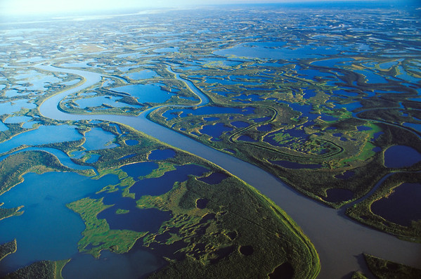 The 50 kilometer-wide Mackenzie Delta at the mouth of the Mackenzie River near Inuvik, Northwest Territories, Canada