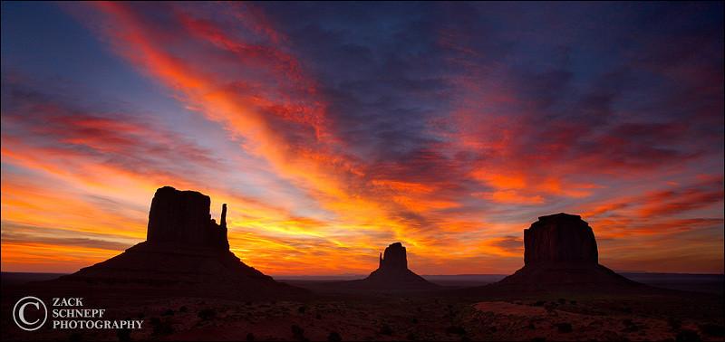 "<font color=""#FFFFFF"" size=""4"" face=""Verdana, Arial, Helvetica, sans-serif"">Monument Valley Sunrise</font><br> Monument Valley, Utah"