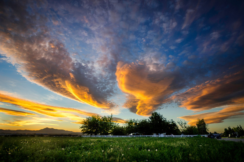 Brilliant orange sunset in Cache Valley, UT.
