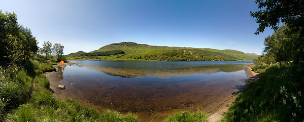 24.07.2011, Schottland, -Loch Lubhair- im -Loch Lomond & the Trossachs National Park-. Panoramaaufnahme.