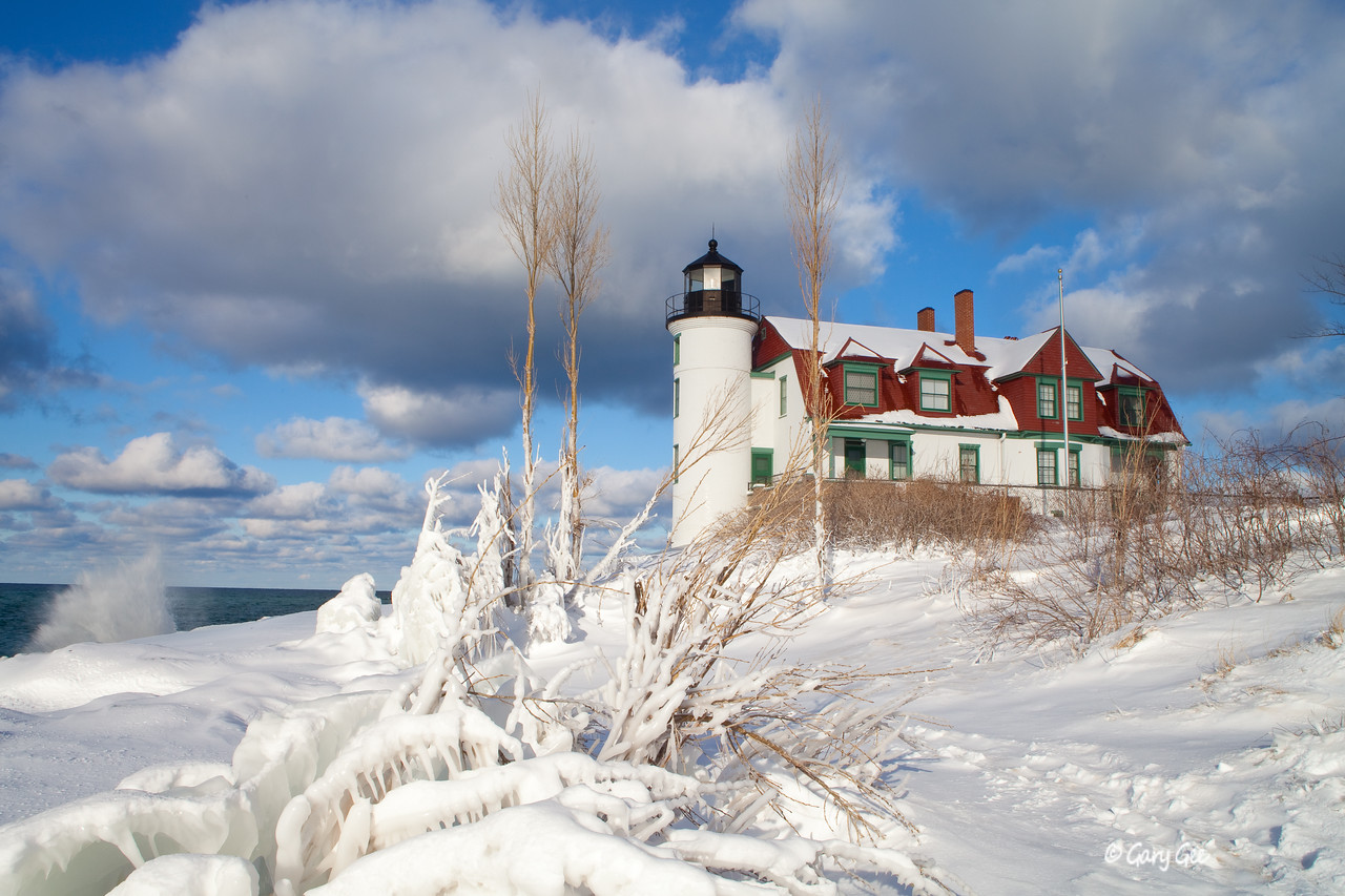 Point Betsie Lighthouse on a chilly January day