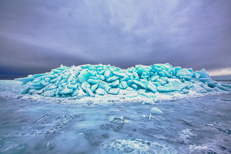Ice Mountain that formed on Lake Michigan off Good Hart, MI - 2013