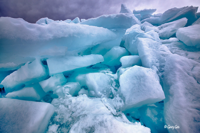 Piles of ice on Lake Michigan