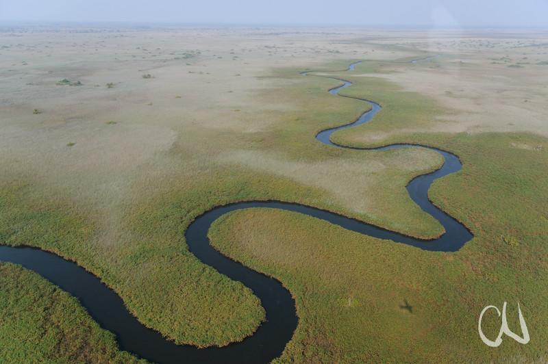Flusslauf und Flugzeugschatten im Okavango-Delta, Rundflug über das Okavango, Delta, Maun, Botswana, Botsuana