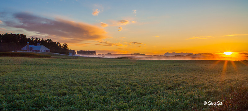 Amish farm sunrise