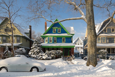 Ditmas Park house in the snow, Brooklyn