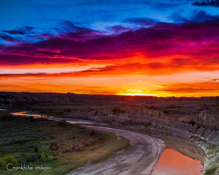 Sunset over the Little Missouri  River  - TRNP