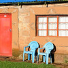 am Morgen in der Malealea-Lodge, hut, chair, door, window, , Lesotho