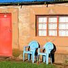 am Morgen in der Malealea-Lodge, hut, chair, door, window, , Lesotho