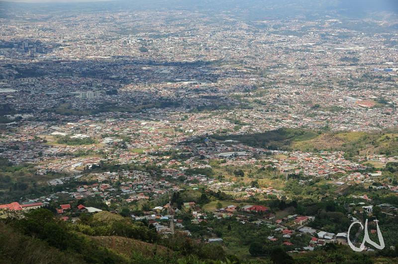 Blick von Südwesten auf San José, Cerros de Escazú, San José, Costa Rica