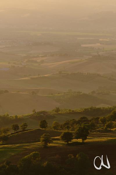 goldenes Abendlicht, Hügellandschaft, Alta Maremma, bei Monticello Amiata, Toskana, Italien, Tuscany, Italy, Maremma