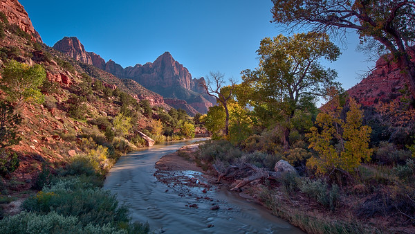 Virgin River and the Watchman in autumn. Zion National Park.