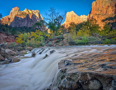Virgin River waterfall and the Court of the Patriarchs - Zion National Park