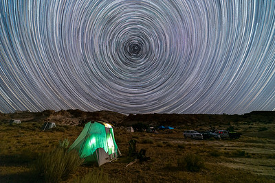 Star trails above campsite. San Rafael Swell, Utah.