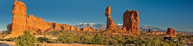Panorama of Balanced Rock area, in Arches National Park.