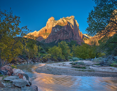 Court of the Patriarchs and Virgin River - Zion National Park