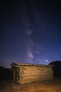 Milky Way over the Wolfe Ranch house - an original cabin from early settlers.