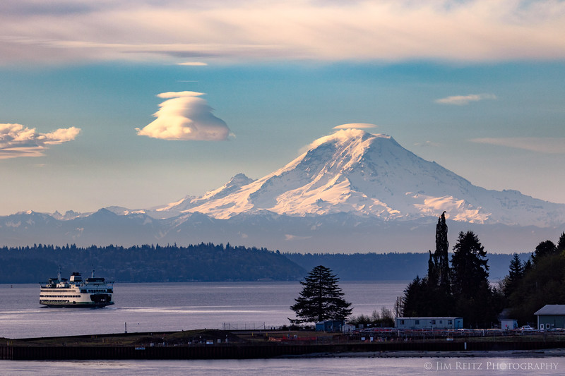 Mount Rainier, ferry, and lenticular cloud