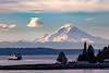 Mount Rainier, ferry, and lenticular cloud