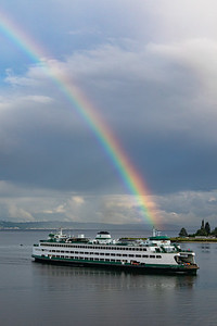 Ferry & rainbow - Bainbridge Island