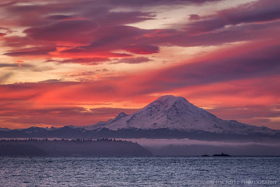 Mount Rainier at sunrise this morning.