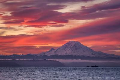 Mount Rainier at sunrise this morning.