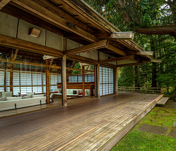 One of the highlights of the Bloedel Reserve is the Japanese Guest House - designed by noted Seattle architect Paul Hayden Kirk as a cross between Native American long house and Japanese tea house. Cool to walk around & peek thru the glass - not sure if they ever do tours inside.