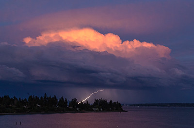 Managed to get one frame of lightning from tonight's scattered thunderstorm cells, across Puget Sound somewhere near downtown Seattle...