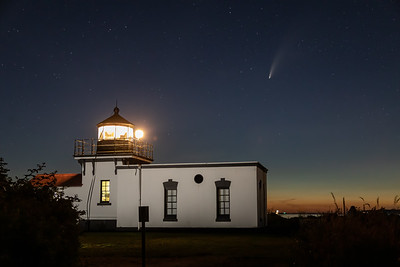 Point No Point lighthouse with Comet NEOWISE above it - near Hansville, Washington.