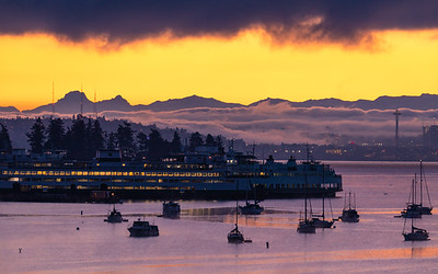Another view of a beautiful, cold, foggy sunrise - looking over Eagle Harbor on Bainbridge Island, toward Seattle and the Cascade Mountains.