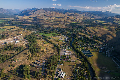 Aerial view of Winthrop, Washington - taken from hot-air balloon.
