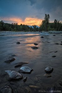 Sunset at the confluence of the Methow and Chuwach rivers, near Winthrop, Washington
