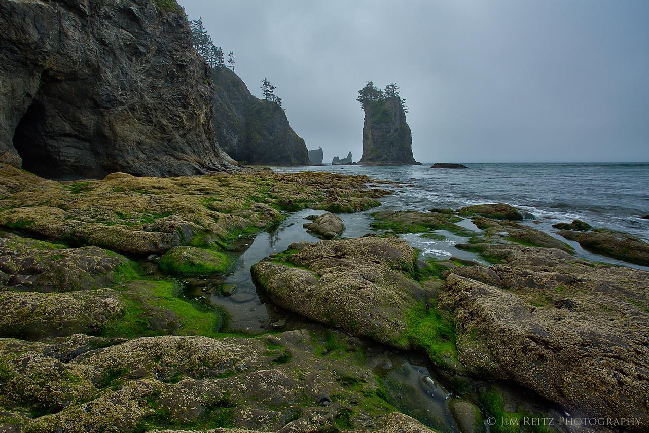 Cave, tidepools, and sea stacks. Second Beach - La Push, WA