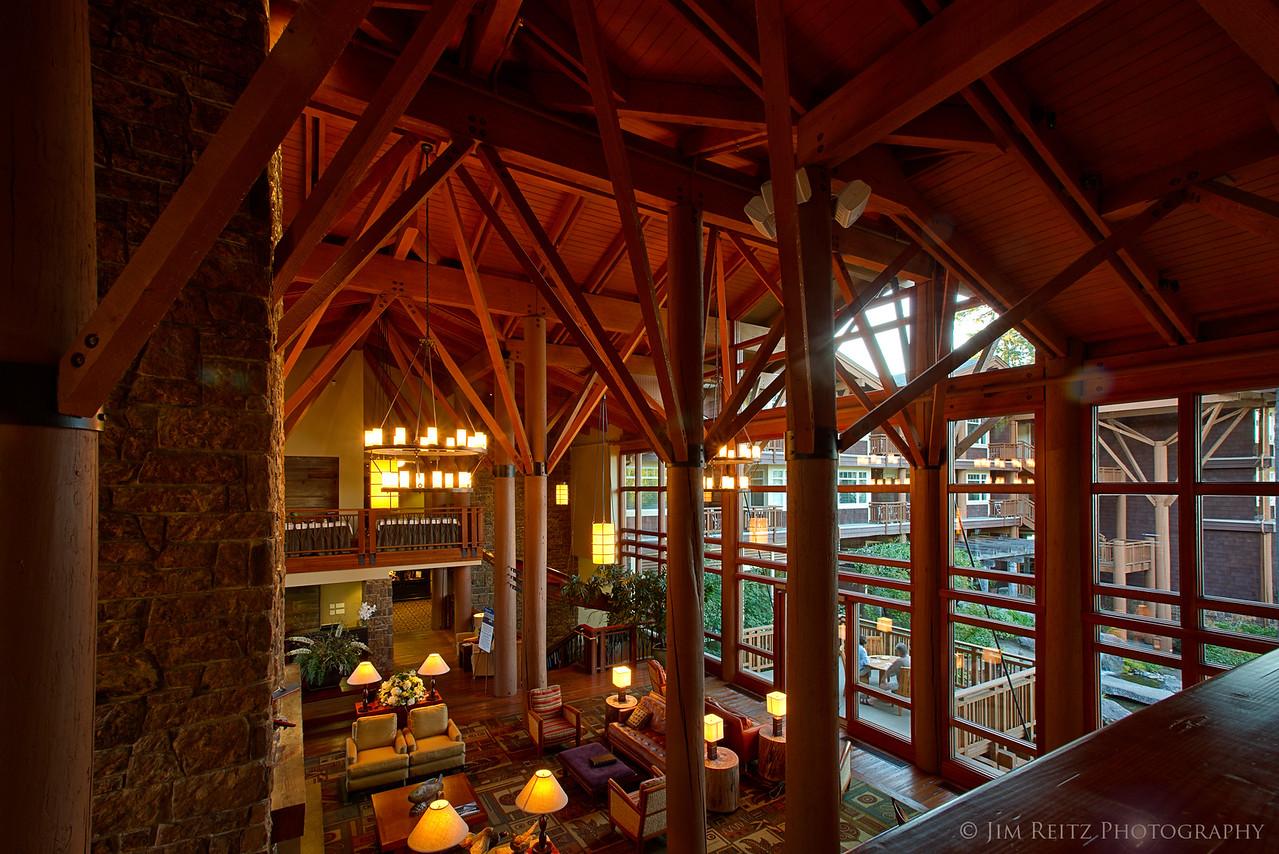 Soaring lobby interior at Alderbrook Resort