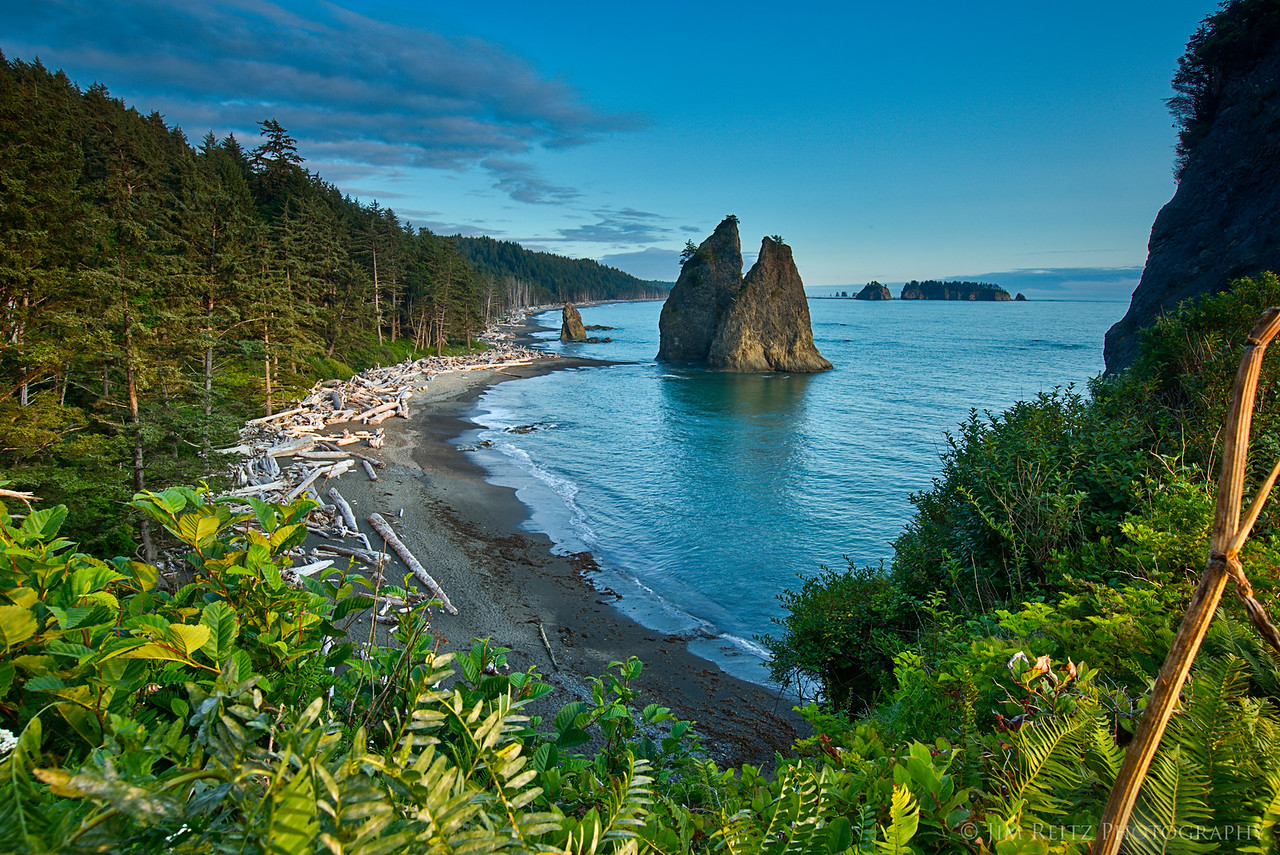 Looking back down Rialto Beach just before sunset