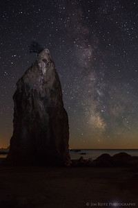 Milky Way and sea stack. Rialto Beach, Olympic National Park.