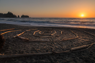 Someone was getting creative with driftwood. Found this log circle on Rialto Beach at sunset.