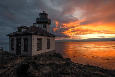 Some brilliant sunset colors at the Lime Kiln lighthouse on San Juan Island.
