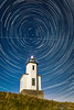 Startrails over Cattle Point lighthouse, San Juan Island, Washington