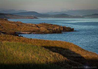 Shoreline view toward Cattle Point Lighthouse, American Camp, San Juan Island
