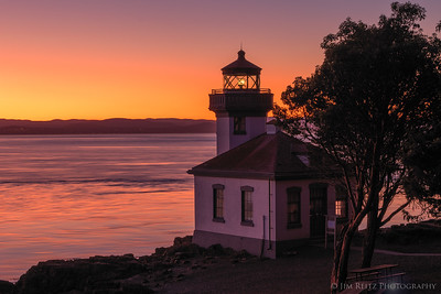 The last bits of sunset light at Lime Kiln Point Lighthouse.