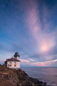 Lime Kiln Point lighthouse at sunset, San Juan Island, Washington