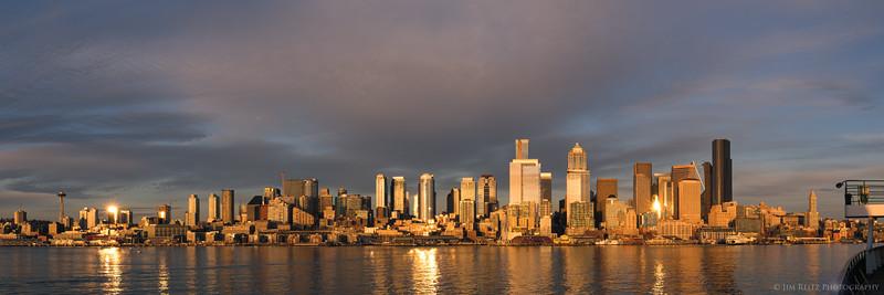 Seattle waterfront, sunset panorama.