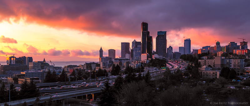 Another view of last week's colorful Seattle skyline sunset, from the 12th Ave bridge...