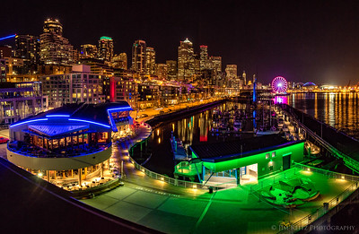 Seattle nighttime waterfront view from Pier 66