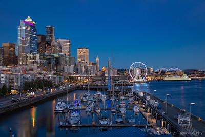 Blue hour Seattle waterfront