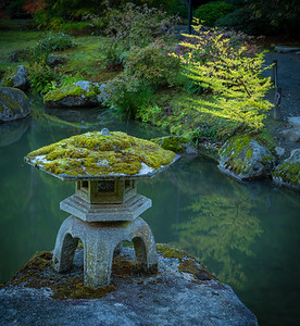 Stone lantern at Seattle Japanese Garden.